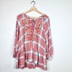 Unity Long Sleeve Peplum Plaid Embroidered Top L